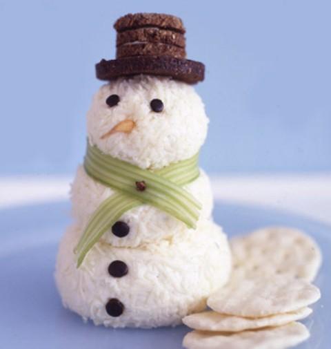 receta de navidad muñeco de nieve de queso