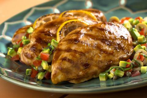 Receta: Pechugas de pollo rellenas de puré de piña