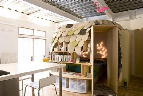 Uroko House Construir una habitación librero para los niños