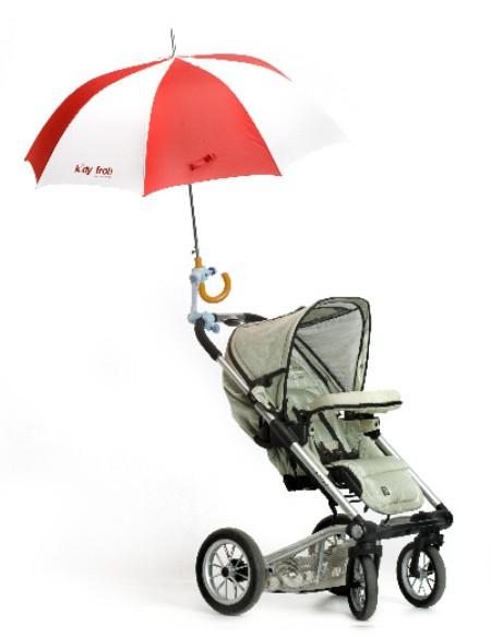 un sujeta paraguas para el cochecito del bebe