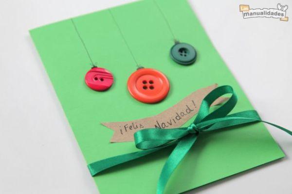 Manualidades de navidad tarjeta navide a con botones - Postales de navidad para hacer con ninos ...