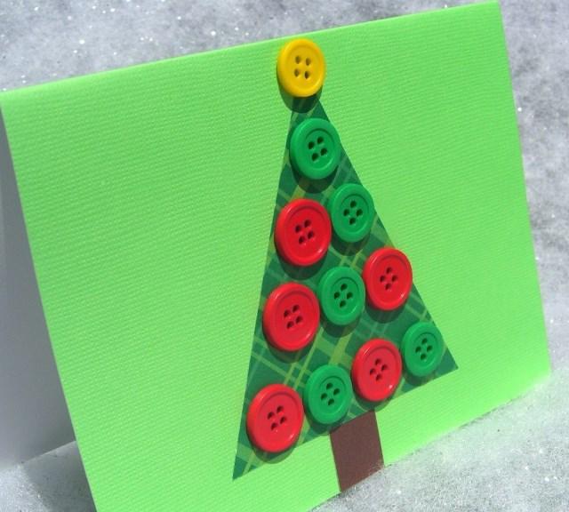 Manualidades de navidad tarjeta navide a de rbol con botones - Manualidades postales navidad ...