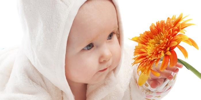 bebe mirando una flor