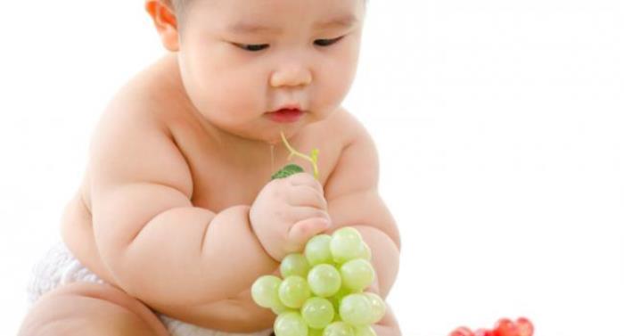 bebé comiendo uva