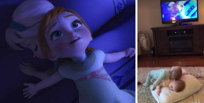 Video gemelas imitando frozen
