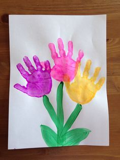 Postal de flores con sus huellas